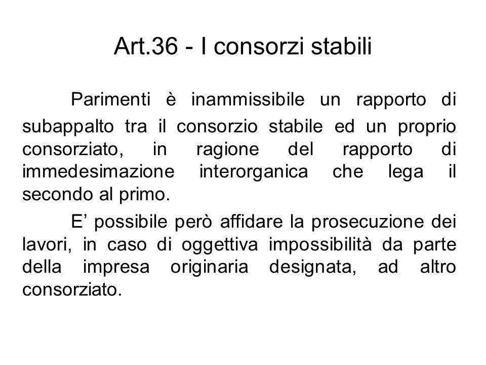 Art.36 - I consorzi stabili Parimenti è inammissibile un rapporto di subappalto tra il consorzio stabile ed un proprio consorziato, in ragione del rap
