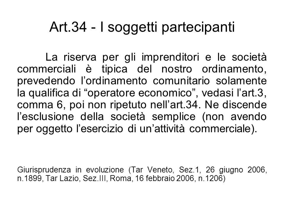 Art.34 - I soggetti partecipanti La riserva per gli imprenditori e le società commerciali è tipica del nostro ordinamento, prevedendo lordinamento com
