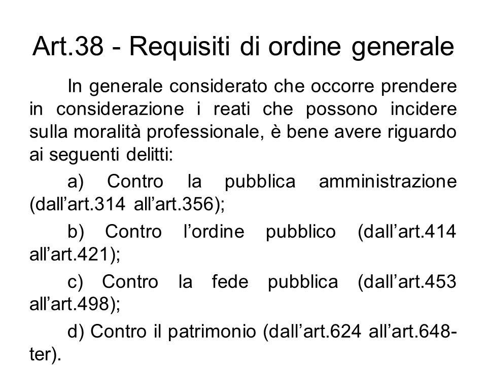 Art.38 - Requisiti di ordine generale In generale considerato che occorre prendere in considerazione i reati che possono incidere sulla moralità profe