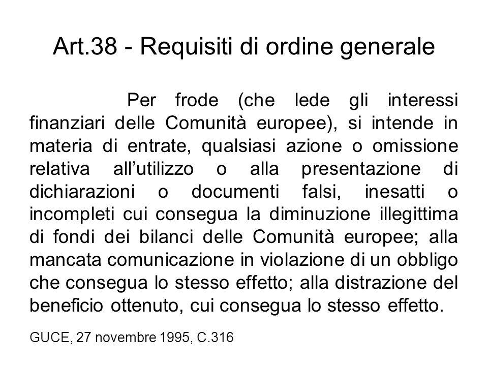 Art.38 - Requisiti di ordine generale Per frode (che lede gli interessi finanziari delle Comunità europee), si intende in materia di entrate, qualsias