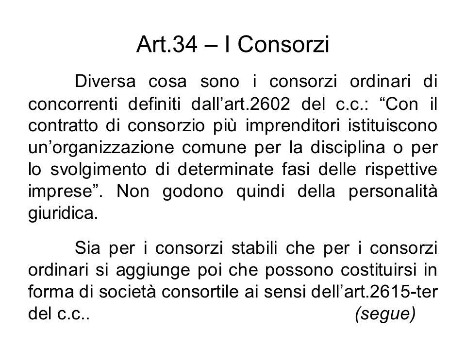 Art.34 – I Consorzi Diversa cosa sono i consorzi ordinari di concorrenti definiti dallart.2602 del c.c.: Con il contratto di consorzio più imprenditor