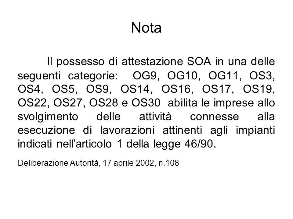 Nota Il possesso di attestazione SOA in una delle seguenti categorie: OG9, OG10, OG11, OS3, OS4, OS5, OS9, OS14, OS16, OS17, OS19, OS22, OS27, OS28 e