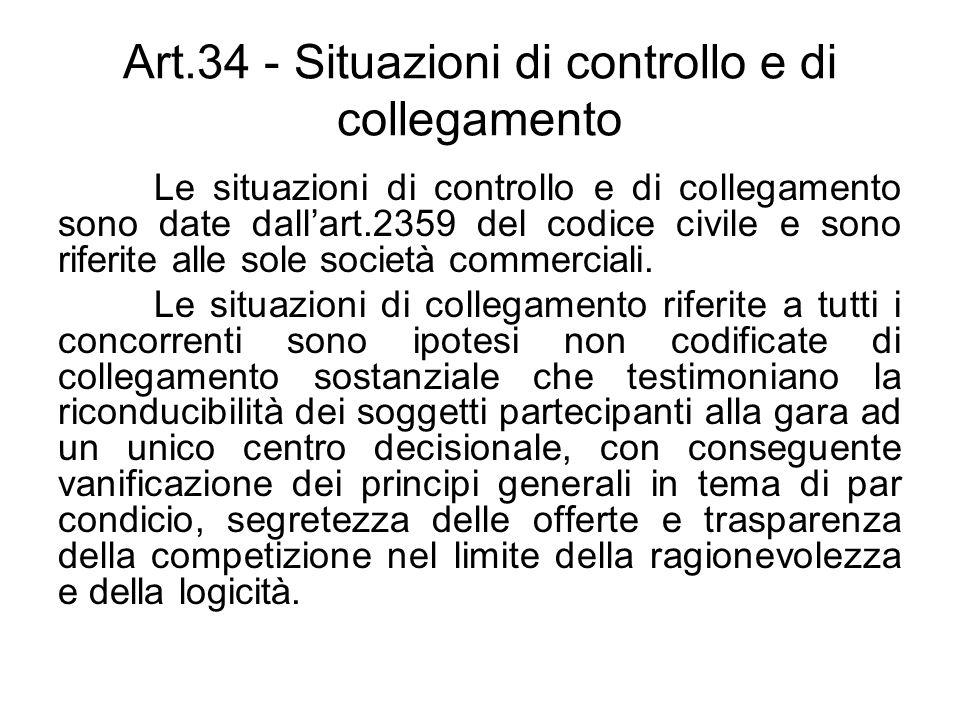 Art.34 - Situazioni di controllo e di collegamento Le situazioni di controllo e di collegamento sono date dallart.2359 del codice civile e sono riferi