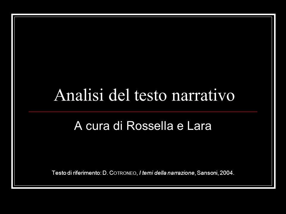 Analisi del testo narrativo A cura di Rossella e Lara Testo di riferimento: D. C OTRONEO, I temi della narrazione, Sansoni, 2004.