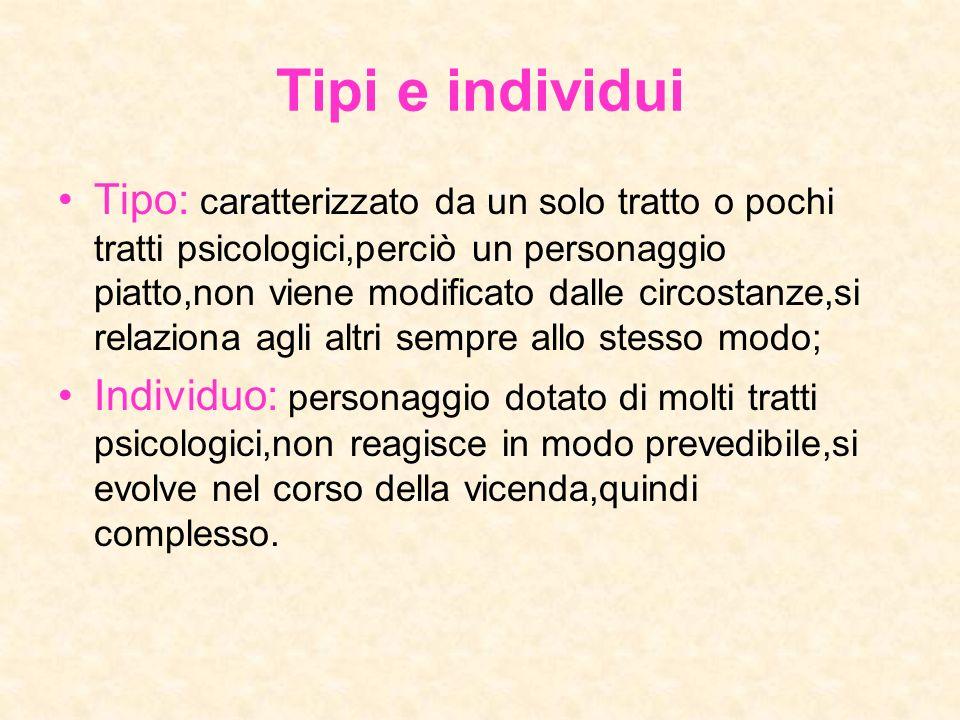 Tipi e individui Tipo: caratterizzato da un solo tratto o pochi tratti psicologici,perciò un personaggio piatto,non viene modificato dalle circostanze