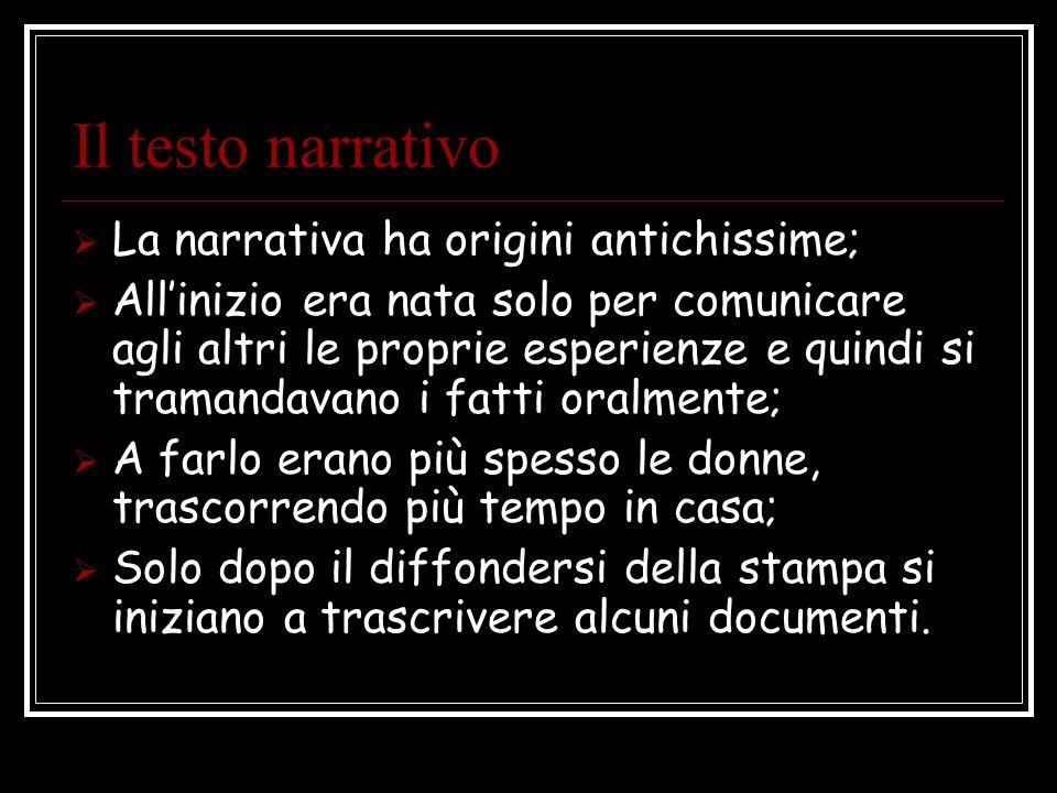 Il testo narrativo La narrativa ha origini antichissime; Allinizio era nata solo per comunicare agli altri le proprie esperienze e quindi si tramandav