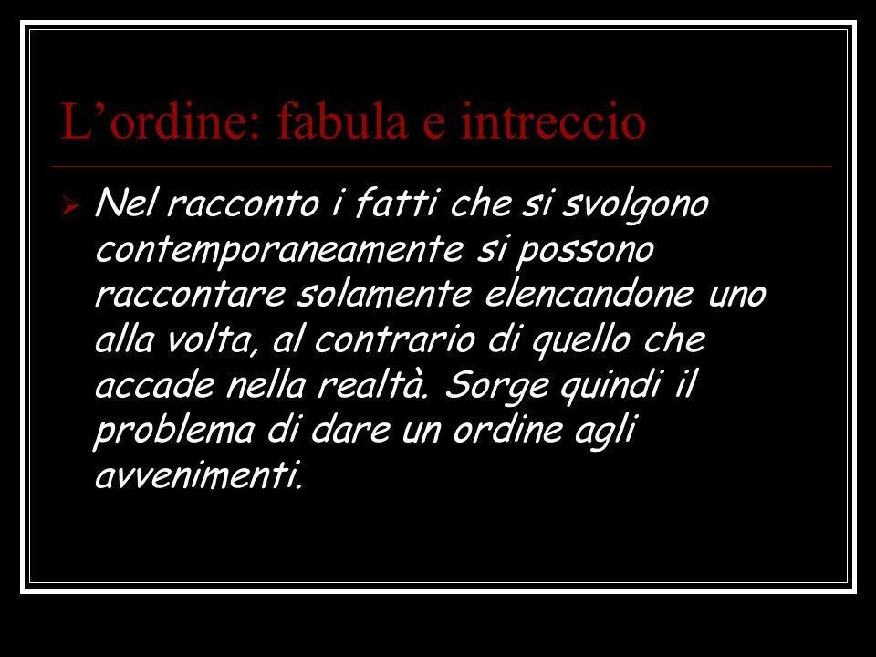 Lordine: fabula e intreccio Nel racconto i fatti che si svolgono contemporaneamente si possono raccontare solamente elencandone uno alla volta, al con