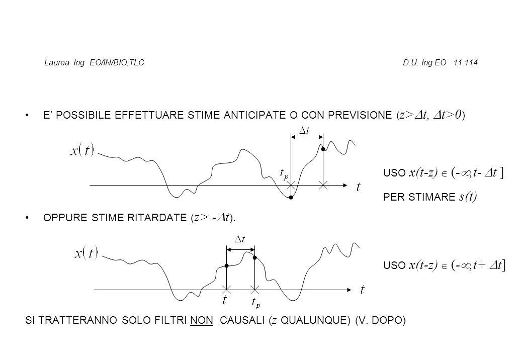 Laurea Ing EO/IN/BIO;TLC D.U. Ing EO 11.114 E POSSIBILE EFFETTUARE STIME ANTICIPATE O CON PREVISIONE ( z> t, t>0 ) OPPURE STIME RITARDATE ( z> - t ).