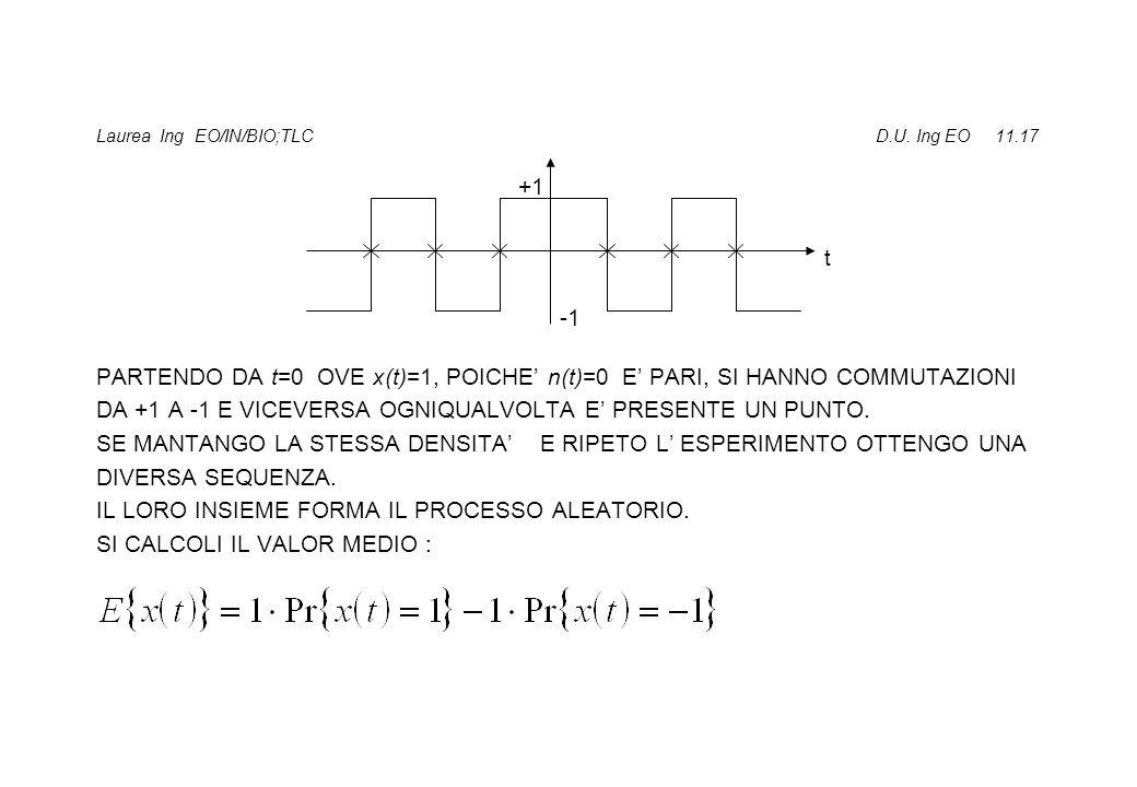 Laurea Ing EO/IN/BIO;TLC D.U. Ing EO 11.17 PARTENDO DA t=0 OVE x(t)=1, POICHE n(t)=0 E PARI, SI HANNO COMMUTAZIONI DA +1 A -1 E VICEVERSA OGNIQUALVOLT