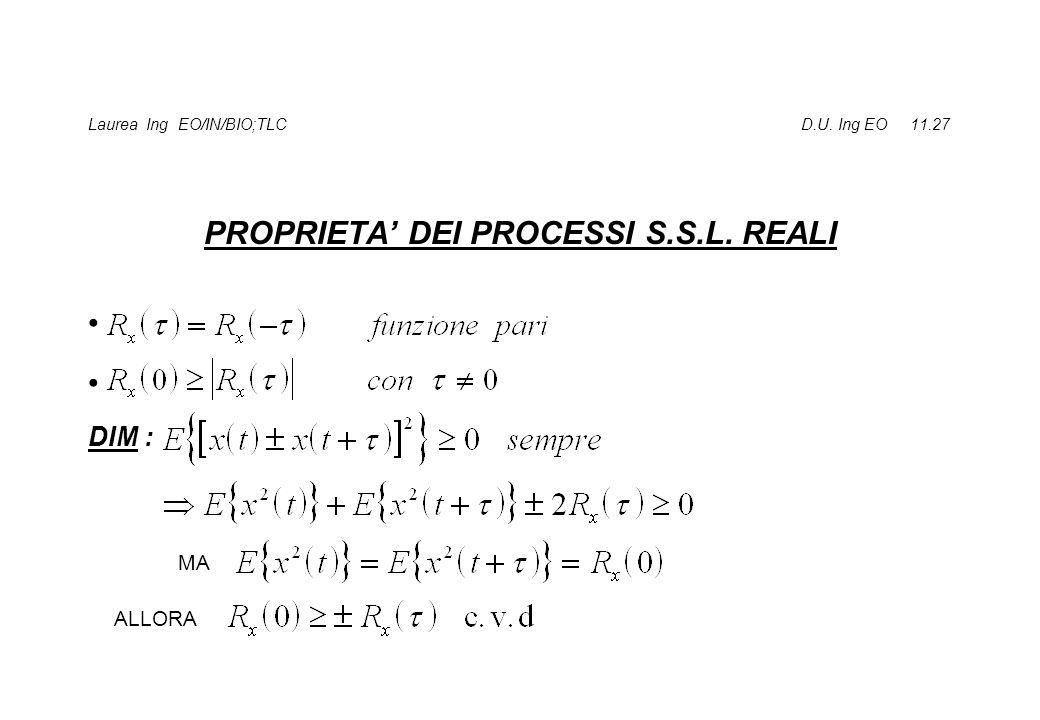 Laurea Ing EO/IN/BIO;TLC D.U. Ing EO 11.27 PROPRIETA DEI PROCESSI S.S.L. REALI DIM : MA ALLORA