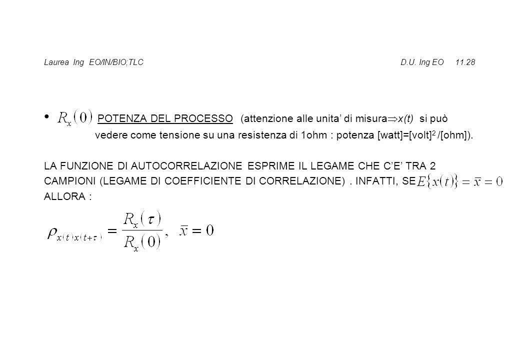 Laurea Ing EO/IN/BIO;TLC D.U. Ing EO 11.28 POTENZA DEL PROCESSO (attenzione alle unita di misura x(t) si può vedere come tensione su una resistenza di