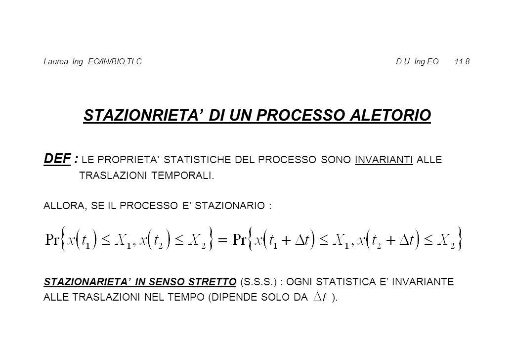 STAZIONARIETA IN SENSO LATO (S.S.L.) : SE LA STATISTICA DEL I E DEL II ORDINE NON DIPENDONO DAL TEMPO t.