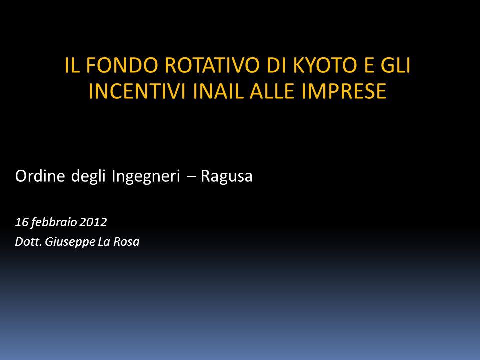 IL FONDO ROTATIVO DI KYOTO E GLI INCENTIVI INAIL ALLE IMPRESE Ordine degli Ingegneri – Ragusa 16 febbraio 2012 Dott.