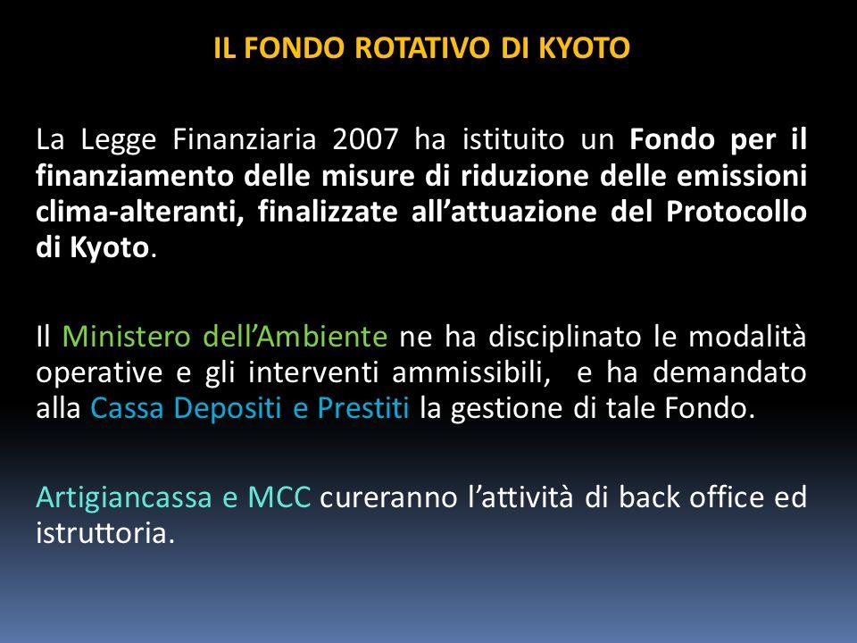 IL FONDO ROTATIVO DI KYOTO La Legge Finanziaria 2007 ha istituito un Fondo per il finanziamento delle misure di riduzione delle emissioni clima-alteranti, finalizzate allattuazione del Protocollo di Kyoto.