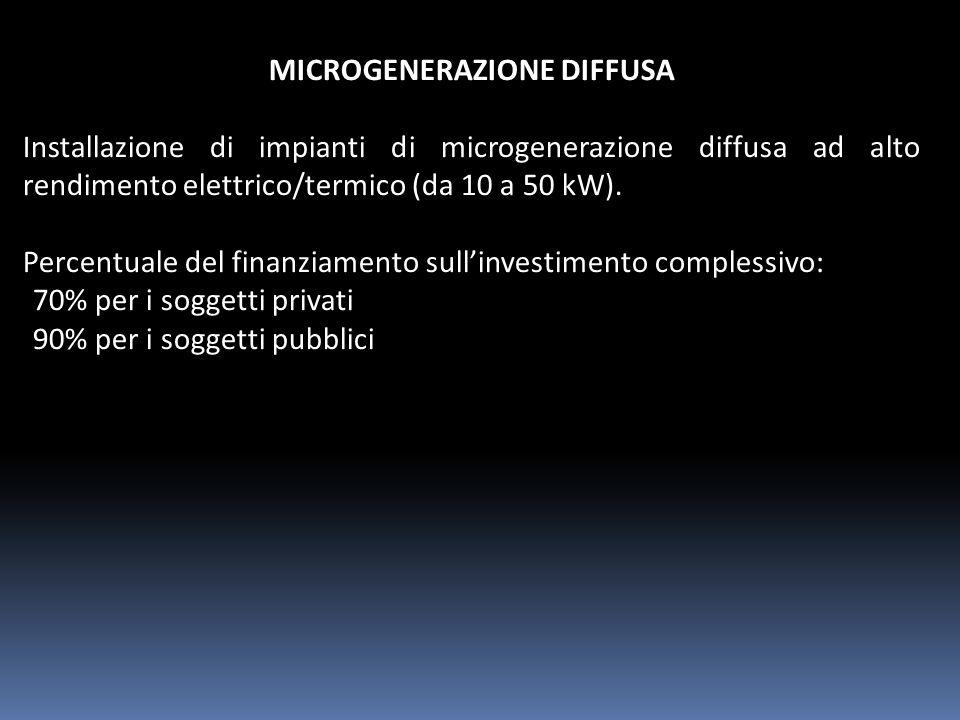 MICROGENERAZIONE DIFFUSA Installazione di impianti di microgenerazione diffusa ad alto rendimento elettrico/termico (da 10 a 50 kW).