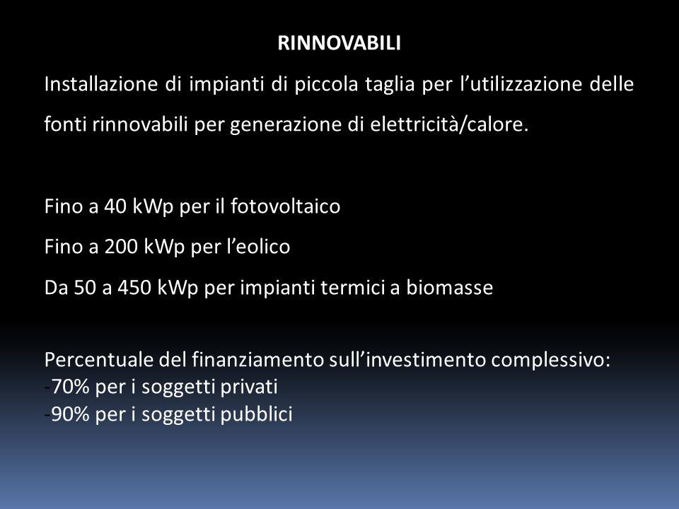 RINNOVABILI Installazione di impianti di piccola taglia per lutilizzazione delle fonti rinnovabili per generazione di elettricità/calore.