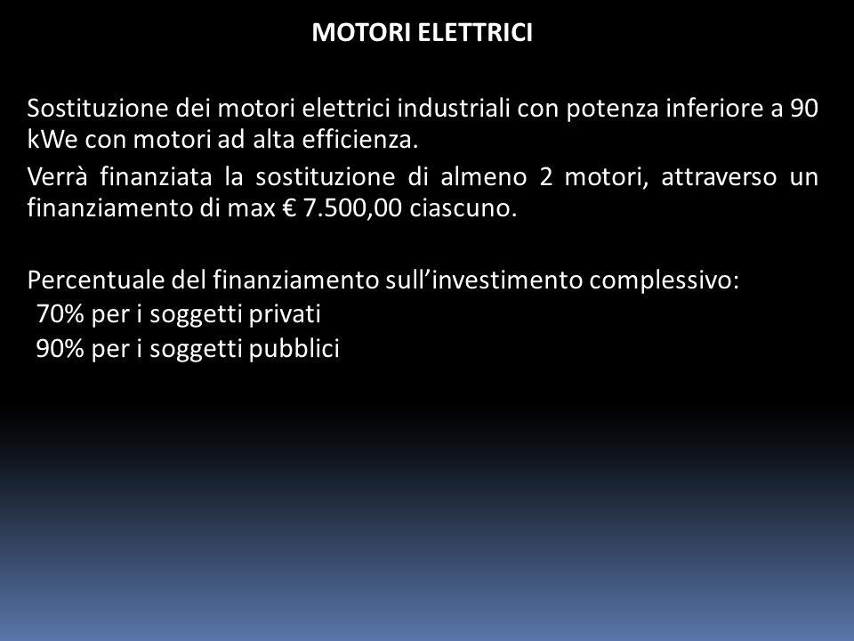 MOTORI ELETTRICI Sostituzione dei motori elettrici industriali con potenza inferiore a 90 kWe con motori ad alta efficienza.