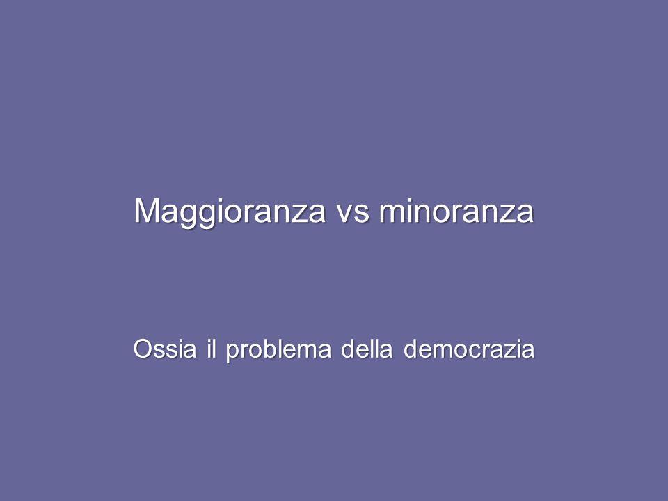 Maggioranza vs minoranza Ossia il problema della democrazia