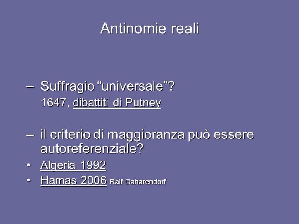 Antinomie reali –Suffragio universale.