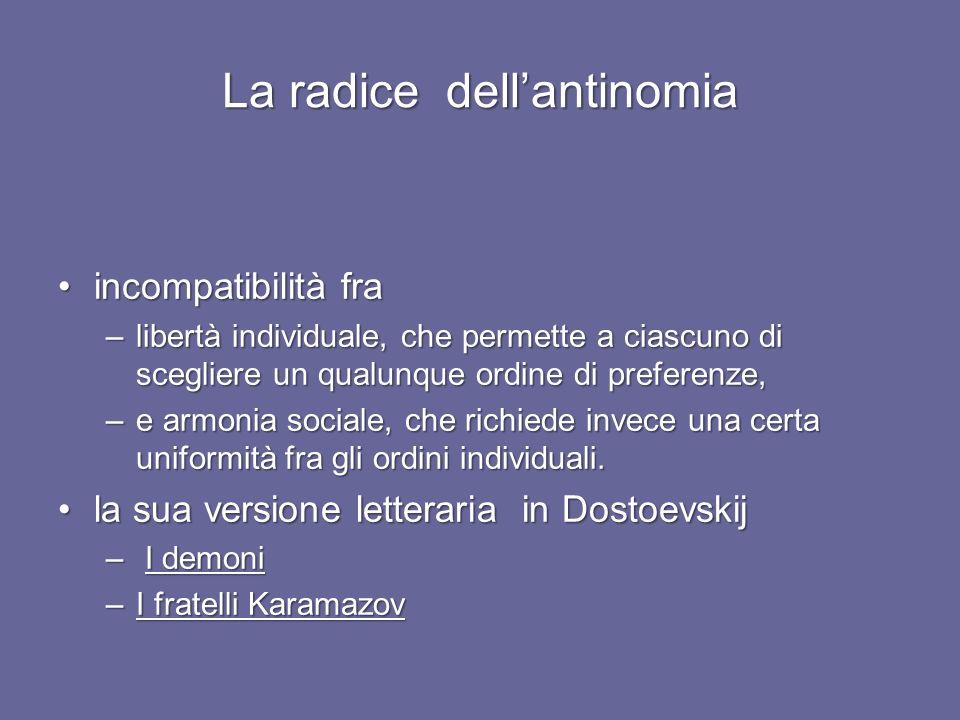 La radice dellantinomia incompatibilità fraincompatibilità fra –libertà individuale, che permette a ciascuno di scegliere un qualunque ordine di preferenze, –e armonia sociale, che richiede invece una certa uniformità fra gli ordini individuali.