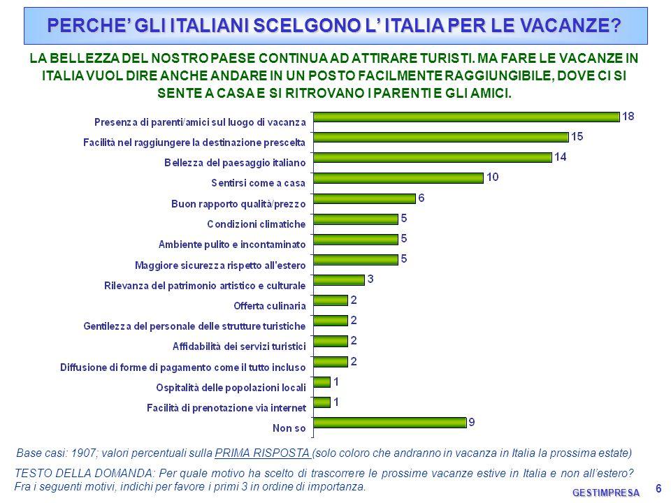6 PERCHE GLI ITALIANI SCELGONO L ITALIA PER LE VACANZE? TESTO DELLA DOMANDA: Per quale motivo ha scelto di trascorrere le prossime vacanze estive in I