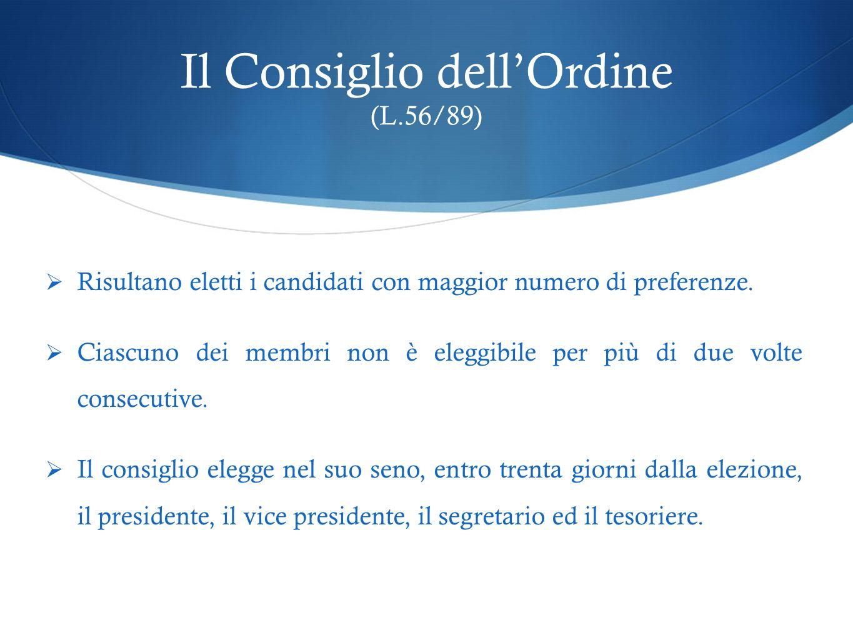 Il Consiglio dellOrdine (L.56/89) Risultano eletti i candidati con maggior numero di preferenze. Ciascuno dei membri non è eleggibile per più di due v