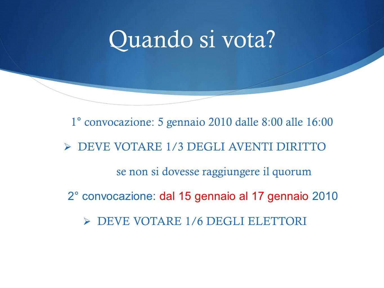 Quando si vota? 1° convocazione: 5 gennaio 2010 dalle 8:00 alle 16:00 DEVE VOTARE 1/3 DEGLI AVENTI DIRITTO se non si dovesse raggiungere il quorum 2°
