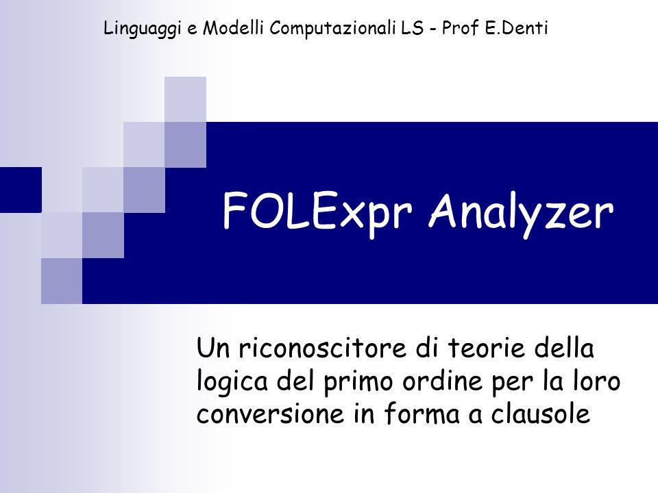 FOLExpr Analyzer Un riconoscitore di teorie della logica del primo ordine per la loro conversione in forma a clausole Linguaggi e Modelli Computaziona