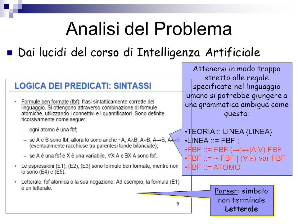 Analisi del Problema Dai lucidi del corso di Intelligenza Artificiale Attenersi in modo troppo stretto alle regole specificate nel linguaggio umano si