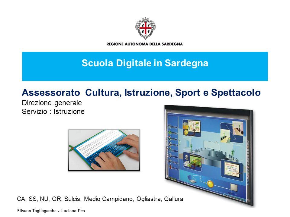 Scuola Digitale in Sardegna Assessorato Cultura, Istruzione, Sport e Spettacolo Direzione generale Servizio : Istruzione CA, SS, NU, OR, Sulcis, Medio