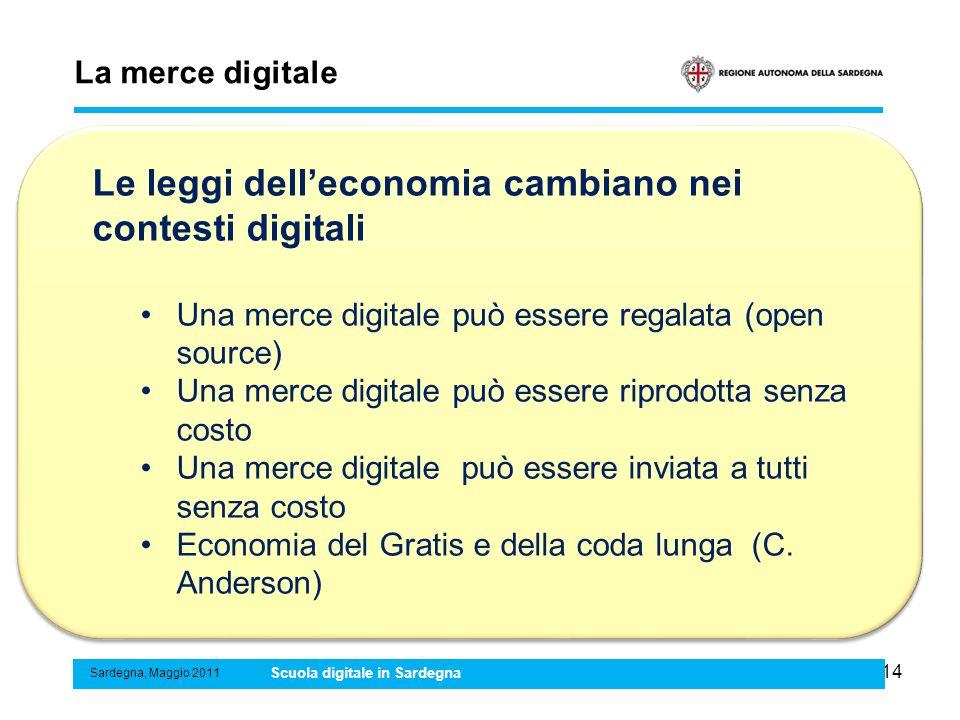 14 La merce digitale Sardegna, Maggio 2011 Scuola digitale in Sardegna Le leggi delleconomia cambiano nei contesti digitali Una merce digitale può ess