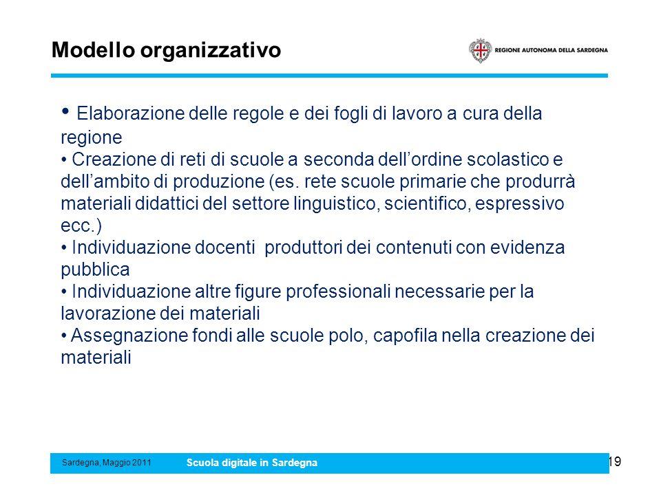 19 Modello organizzativo Sardegna, Maggio 2011 Scuola digitale in Sardegna Elaborazione delle regole e dei fogli di lavoro a cura della regione Creazi