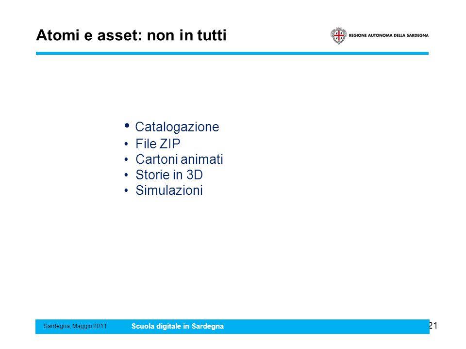 21 Atomi e asset: non in tutti Sardegna, Maggio 2011 Scuola digitale in Sardegna Catalogazione File ZIP Cartoni animati Storie in 3D Simulazioni