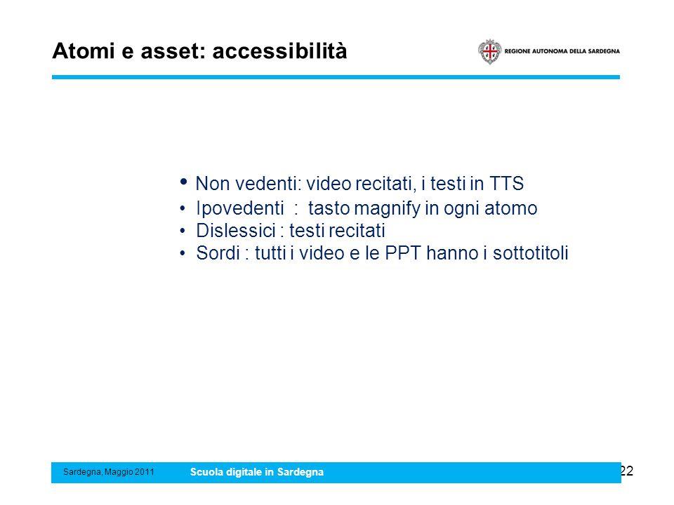 22 Atomi e asset: accessibilità Sardegna, Maggio 2011 Scuola digitale in Sardegna Non vedenti: video recitati, i testi in TTS Ipovedenti : tasto magni