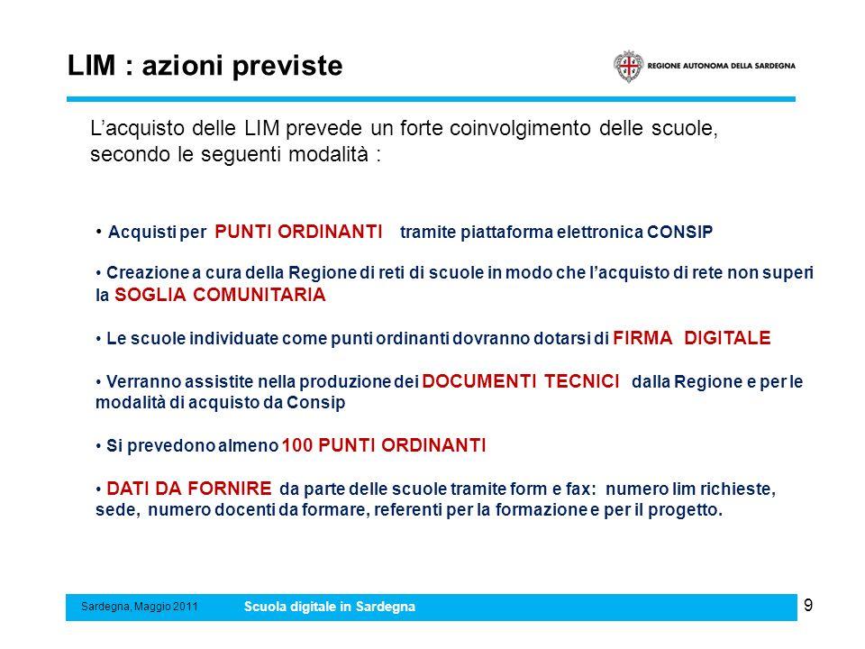 9 LIM : azioni previste Sardegna, Maggio 2011 Scuola digitale in Sardegna Acquisti per PUNTI ORDINANTI tramite piattaforma elettronica CONSIP Creazion