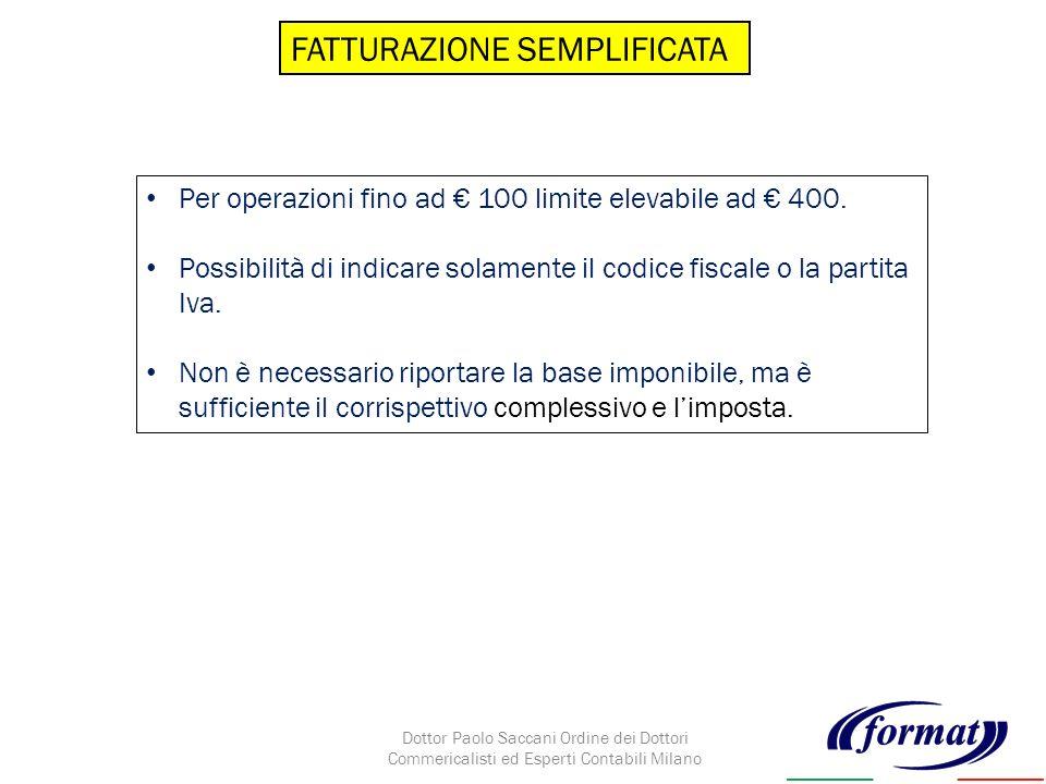 FATTURAZIONE SEMPLIFICATA Per operazioni fino ad 100 limite elevabile ad 400.