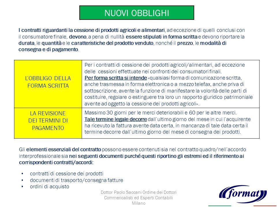 NUOVI OBBLIGHI LOBBLIGO DELLA FORMA SCRITTA Per i contratti di cessione dei prodotti agricoli/alimentari, ad eccezione delle cessioni effettuate nei confronti dei consumatori finali.