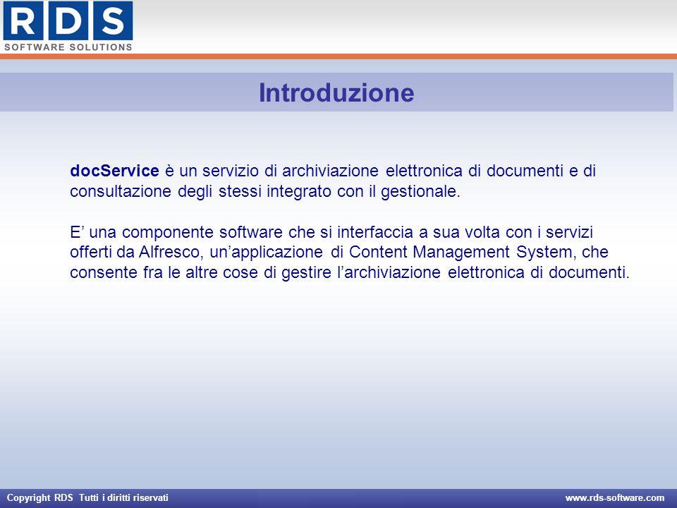 Copyright RDS Tutti i diritti riservati www.rds-software.com Attivazione di docService Configurazione interfaccia con Alfresco Stampa QrCode managerClassName -com.rds_software.release.projects.alfresco.qrcodeprinter.generic.GenericStampaQrCode waId - release/alfresco/qrcodegeneric