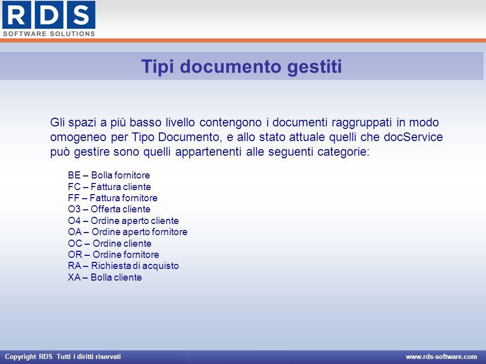 Copyright RDS Tutti i diritti riservati www.rds-software.com Documentazione http://asp.rds-software.com/asptest/impl/ALFI/docs/docService.pdf