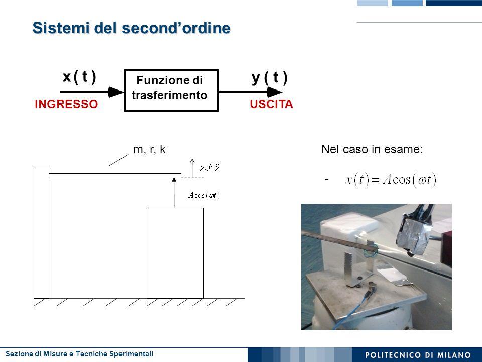 Sezione di Misure e Tecniche Sperimentali Sistemi del secondordine Funzione di trasferimento x(t) y(t) INGRESSOUSCITA Nel caso in esame: - m, r, k