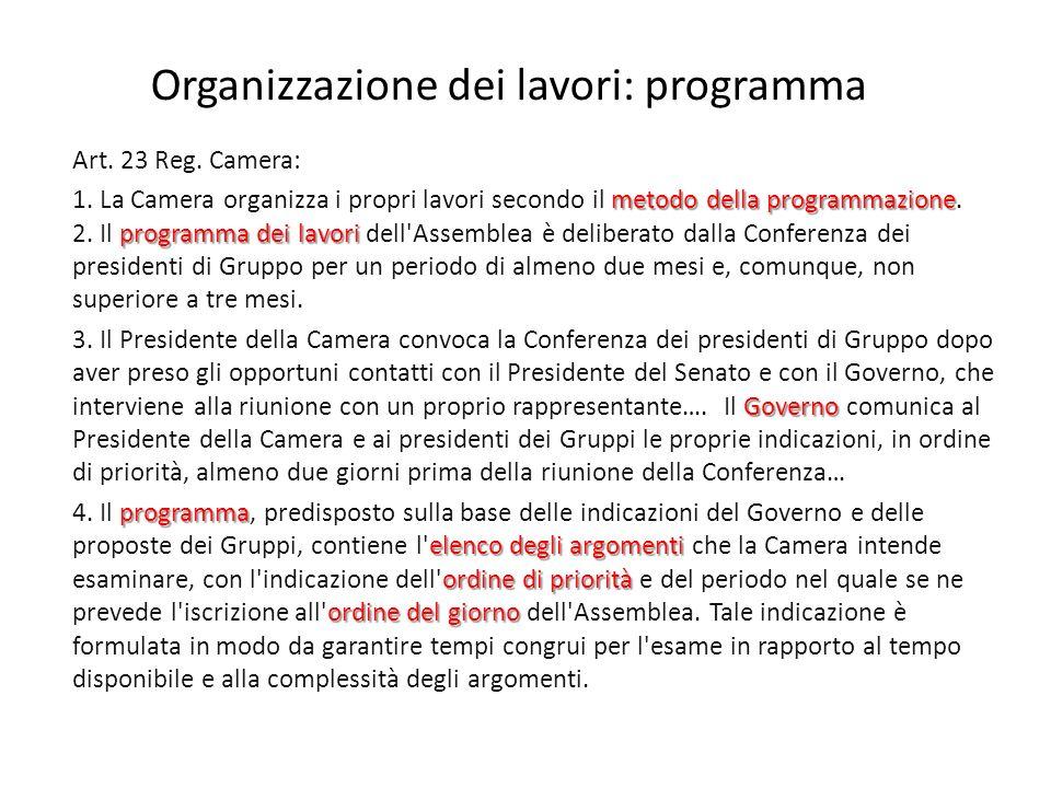 Organizzazione dei lavori: programma Art. 23 Reg.
