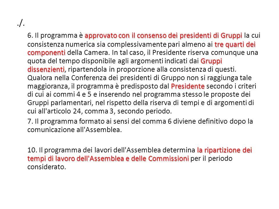 ./. approvato con il consenso dei presidenti di Gruppi tre quarti dei componenti Gruppi dissenzienti Presidente 6. Il programma è approvato con il con