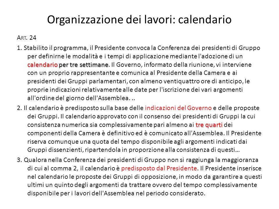 Organizzazione dei lavori: calendario A RT. 24 calendario per tre settimane 1.