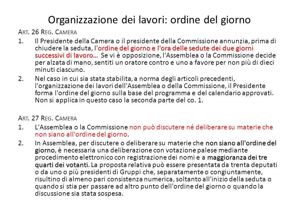 Organizzazione dei lavori: ordine del giorno A RT.