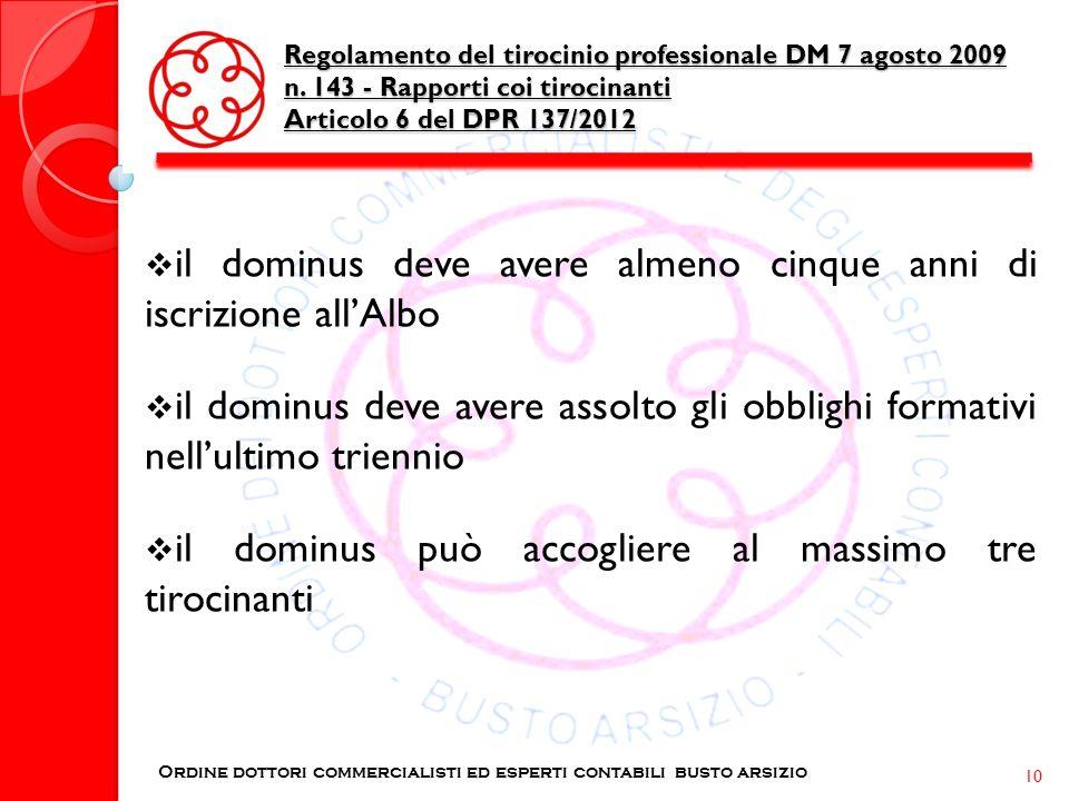 Regolamento del tirocinio professionale DM 7 agosto 2009 n. 143 - Rapporti coi tirocinanti Articolo 6 del DPR 137/2012 Ordine dottori commercialisti e