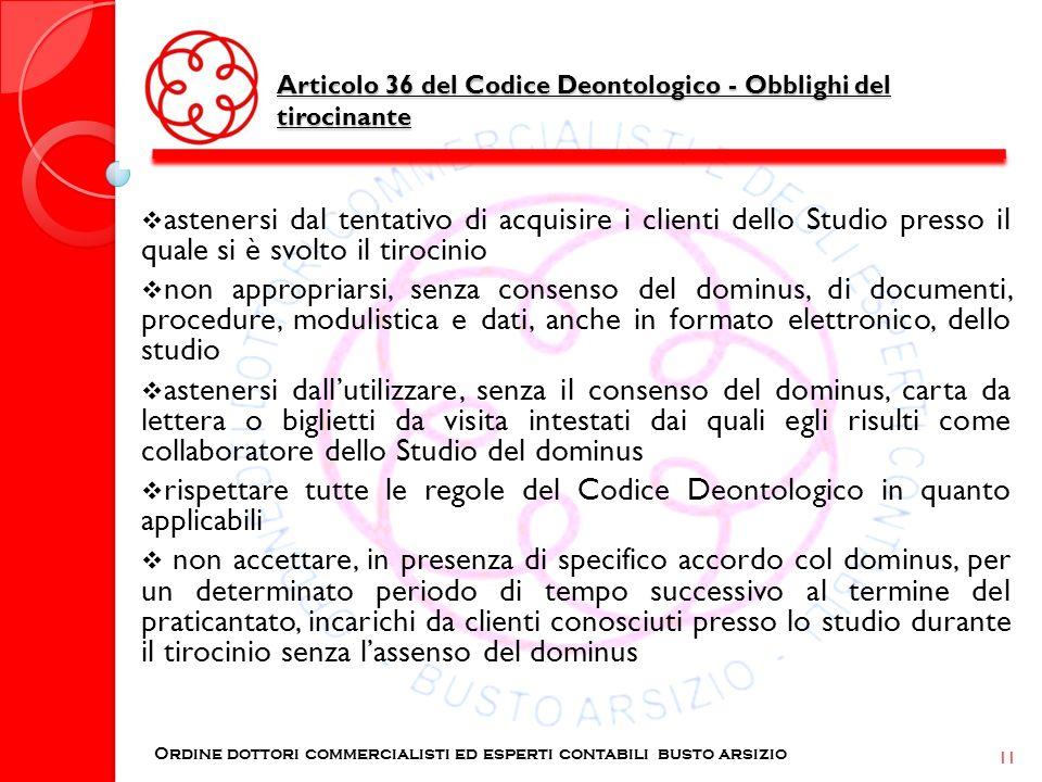 Articolo 36 del Codice Deontologico - Obblighi del tirocinante Ordine dottori commercialisti ed esperti contabili busto arsizio 11 astenersi dal tenta