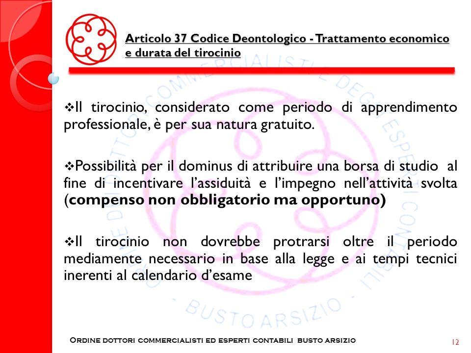 Articolo 37 Codice Deontologico - Trattamento economico e durata del tirocinio Ordine dottori commercialisti ed esperti contabili busto arsizio 12 Il