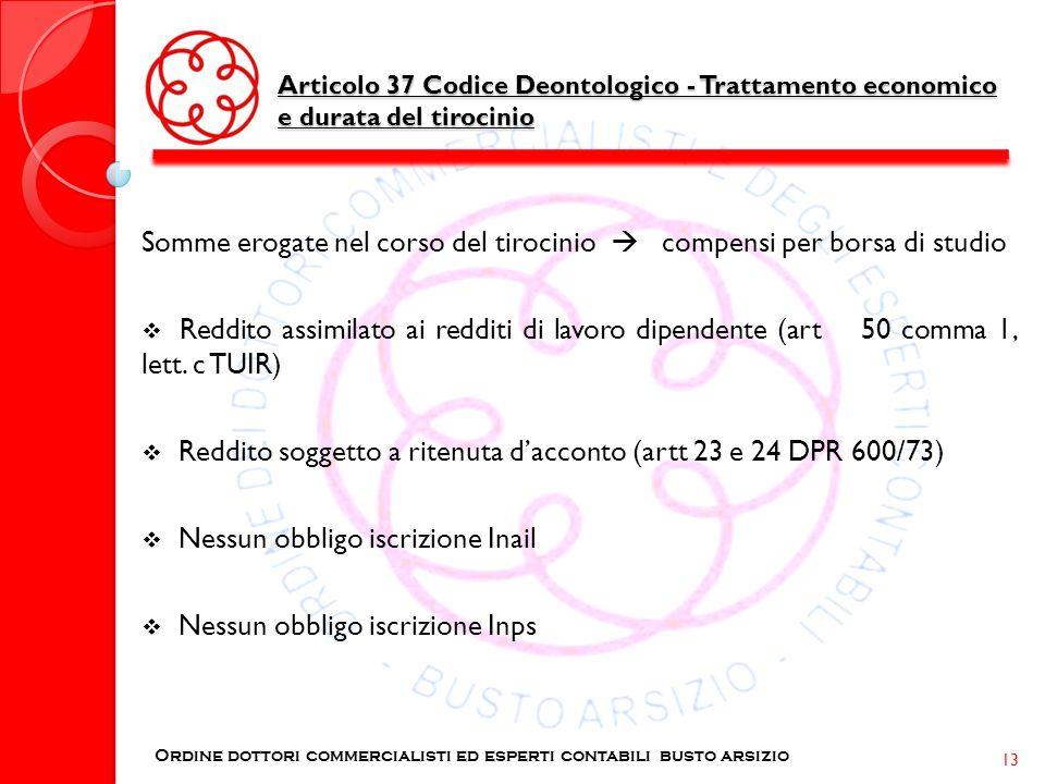 Articolo 37 Codice Deontologico - Trattamento economico e durata del tirocinio Ordine dottori commercialisti ed esperti contabili busto arsizio 13 Som