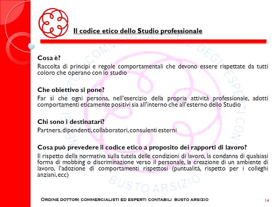 Il codice etico dello Studio professionale Ordine dottori commercialisti ed esperti contabili busto arsizio 14 Cosa è? Raccolta di principi e regole c