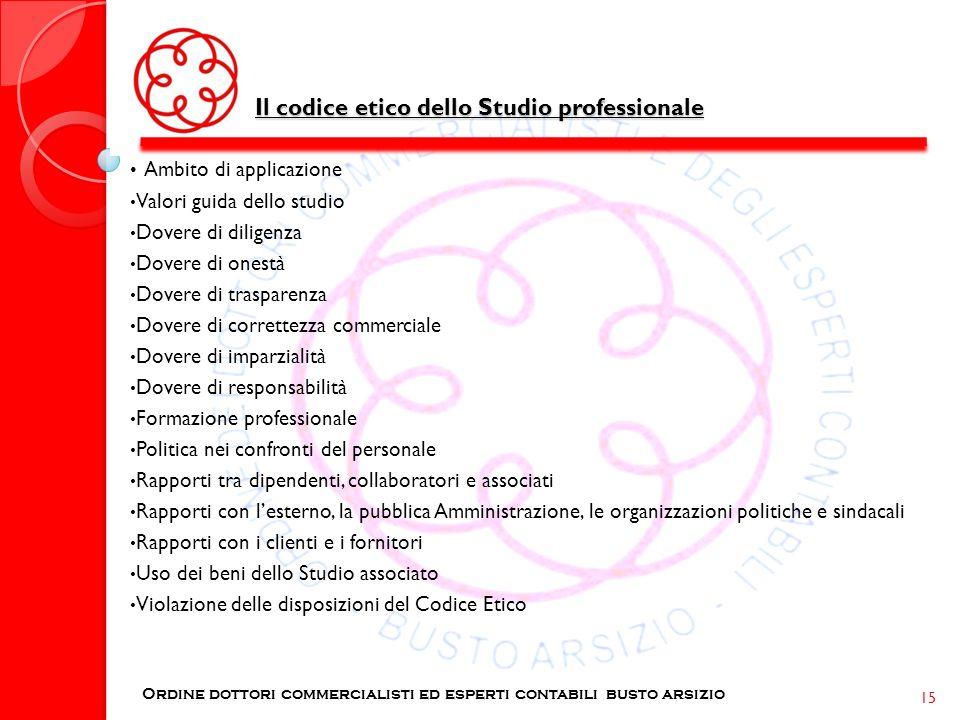 Il codice etico dello Studio professionale Ordine dottori commercialisti ed esperti contabili busto arsizio 15 Ambito di applicazione Valori guida del